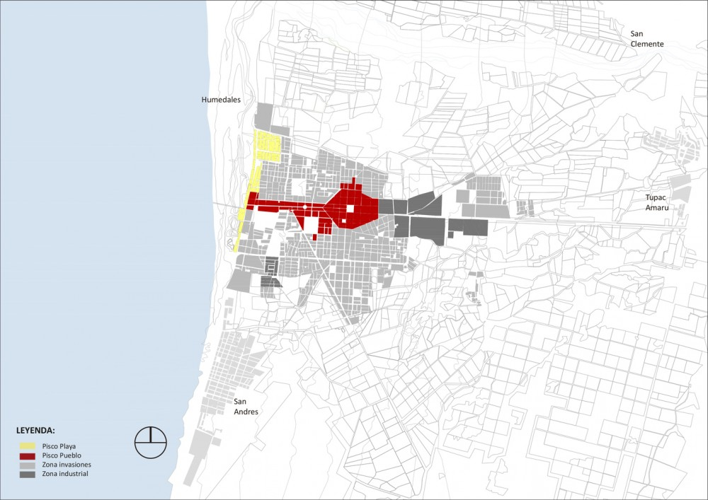 Zonas urbanas de la ciudad de Pisco. Image Cortesía de Cerasil Rangel Mungi