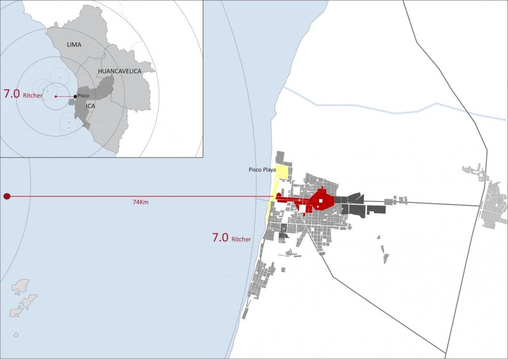 Intensidad y epicentro del sismo en Pisco 2007. Image Cortesía de Cerasil Rangel Mungi