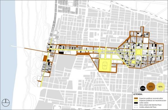 Alteracion fisica de las calles y plazas de Pisco al 2015. Image Cortesía de Cerasil Rangel Mungi