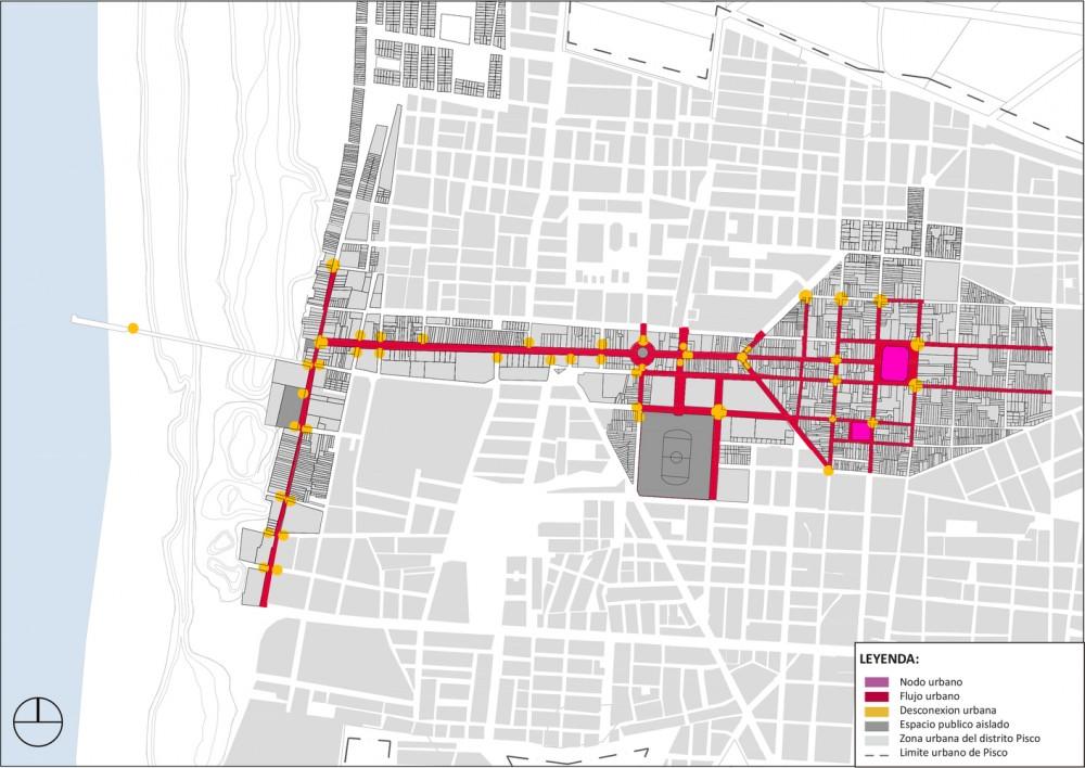 Sistema conformado del espacio publico en la ciudad de Pisco al 2015. Image Cortesía de Cerasil Rangel Mungi
