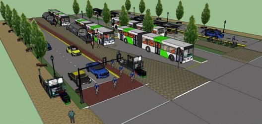 Propuesta para el corredor BRT del eje Alameda-Providencia en Santiago de Chile. © Universidad de los Andes