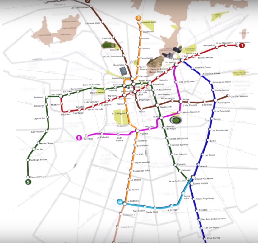 Red de Metro de Santiago con nuevas líneas