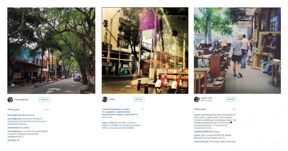 El Poblado, La Roma y Barrio Italia en Instagram. Image vía Instagram