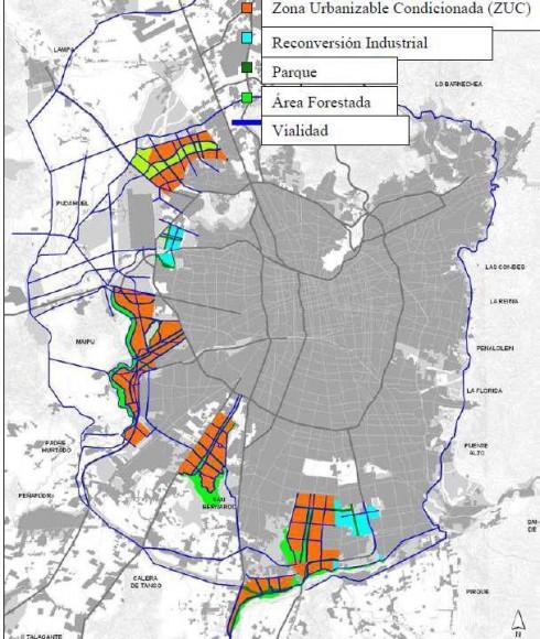 Plan Regulador de Santiago 2011. Fuente: Modificación Plan Regulador Metropolitano de Santiago, Actualización Extensión Urbana y Reconversión. SEREMI y MINVU 2014