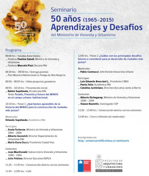 Programa Seminario 50 años Haz click para agrandar