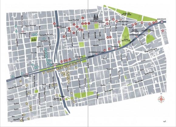 Guia La Ruta de los Palacios y las Grandes Casas de Santiago CNCA Plano de ubicaciones