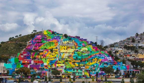 Macromural Barrio de Palmitas-Pachuca, México. Imagen vía Germen en Facebook