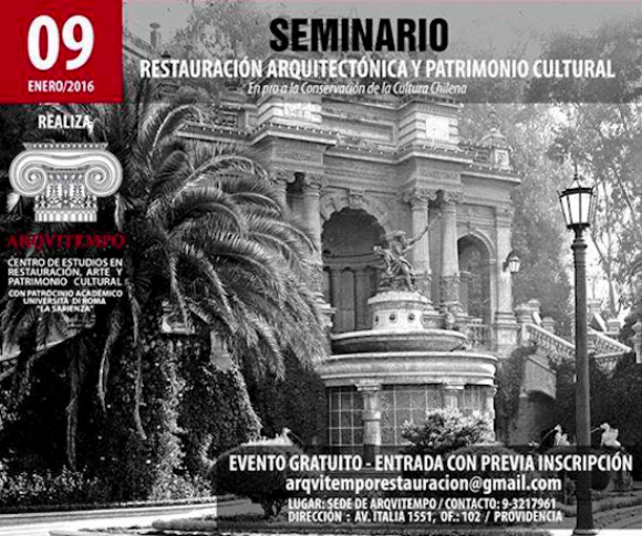 afiche seminario restauracion arquitectonica y patrimonio cultural