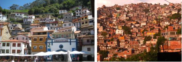 Figuras 1 y 2. Cudillero, (izquierda; Imagen © Adam Carter), y Favela en Río de Janeiro, (derecha; Imagen © Markus Bernet). Paradójicamente, la ciudad informal reproduce modelos similares a los de las ciudades y pueblos históricos. Los patrones de adaptación al medio, aprovechamiento de recursos disponibles, como el suelo y materiales, y la autogeneración de la construcción, genera morfologías equiparables entre ambos.