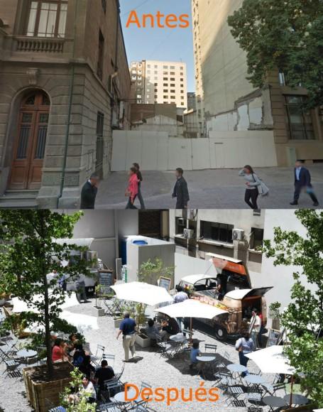 """Plaza de Bolsillo"" en Morandé 83. Imagen elaborada por Plataforma Urbana"