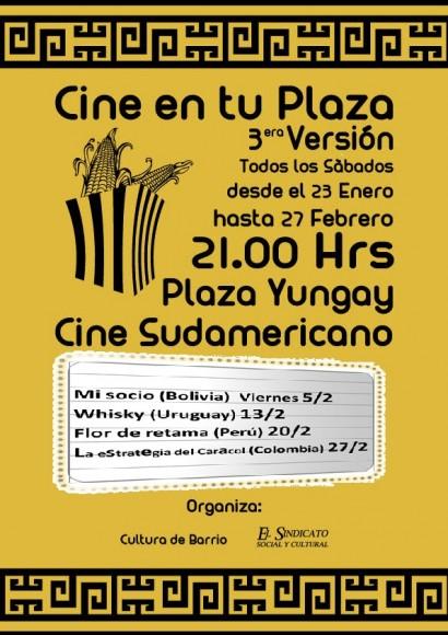 afiche cine sudamericano en plaza yungay