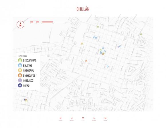 Mapa de Chillán con la ubicación de los monumentos públicos. ©Consejo de Monumentos Nacionales