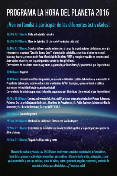"""Programa """"La Hora del Planeta 2016"""" en el Parque Balmaceda, Santiago."""