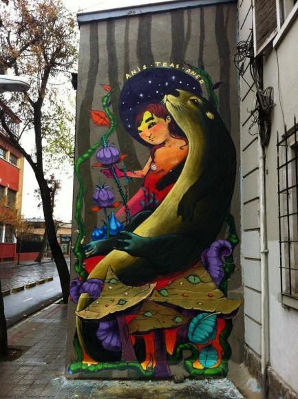 Mural de Aner, Teas y Anis en Barrio Yungay.