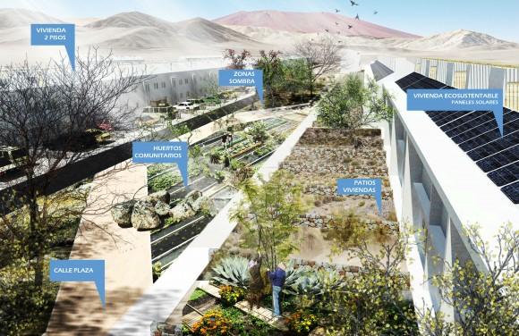 Diseño Barrio Ecosustentable en Chañaral, Región de Atacama. © Cortesía Centro UC de Innovación en Madera