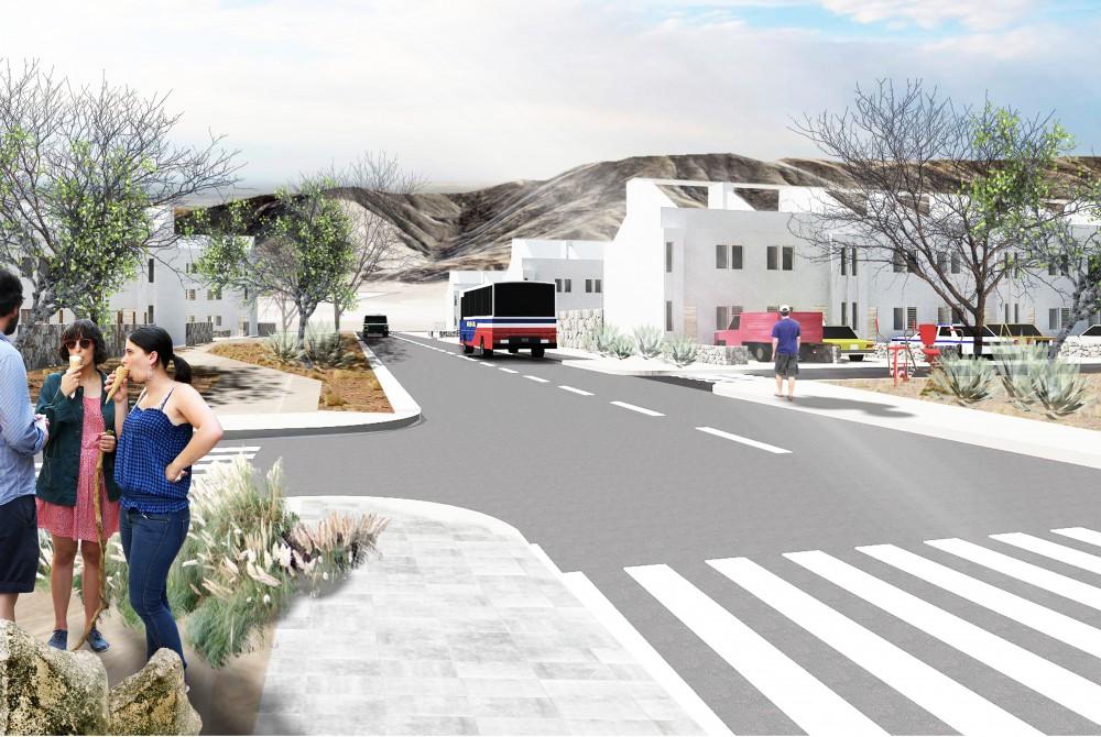 Barrio Ecosustentable en Chañaral, Región de Atacama. © Cortesía Centro UC de Innovación en Madera
