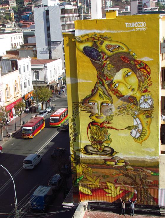 Mural de Cines y Jekse en Valparaíso