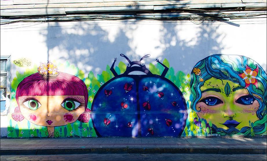 Mural de Danapink en Barrio Brasil