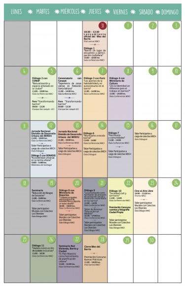"""Calendario de actividades del """"Mes del Barrio"""". Fuente: Minvu"""