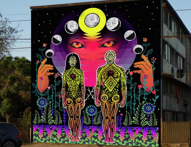 Mural de juanita p rez y anis en el museo a cielo abierto for Papeles murales en santiago de chile