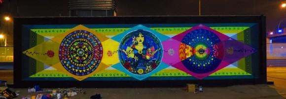mural de Wendy con Anis y Juanita Pérez en Autopista Central. © Cortesía de Wendy.