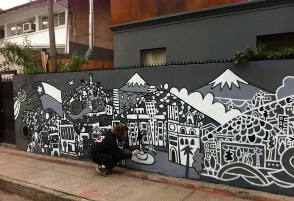Mural Hostel Caracol, en Bellavista.