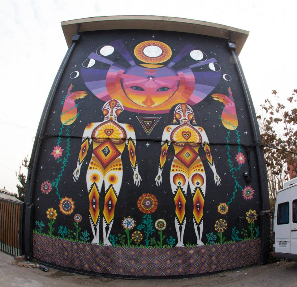 Mural de Juanita Pérez, Anis y Wend en el Museo a Cielo Abierto de San Miguel
