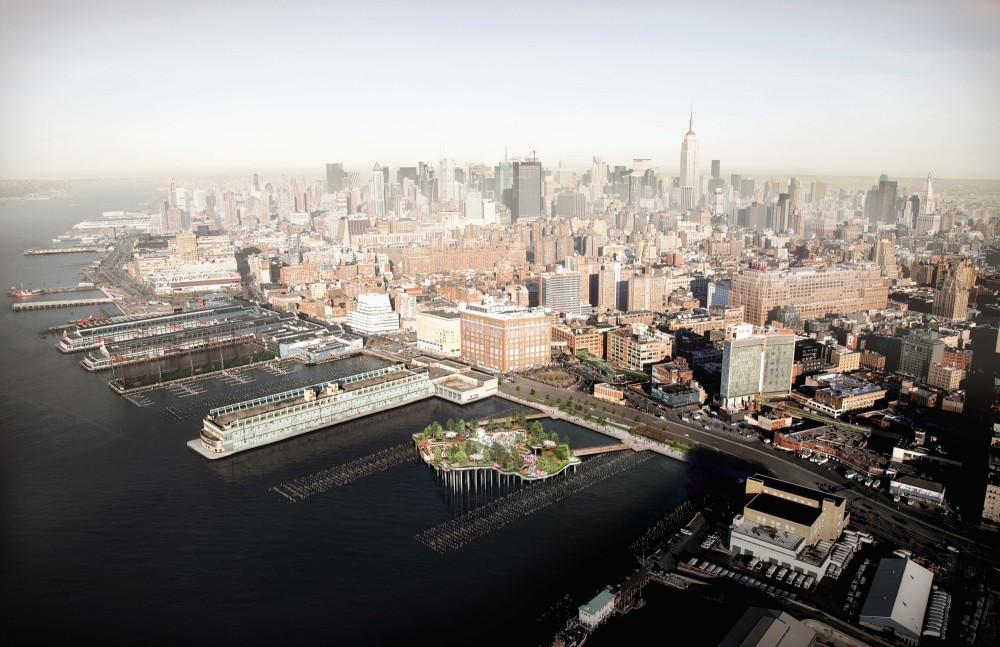Pier 55 in context of the west side.. Image © Pier55, Inc. and Heatherwick Studio, Renders by Luxigon