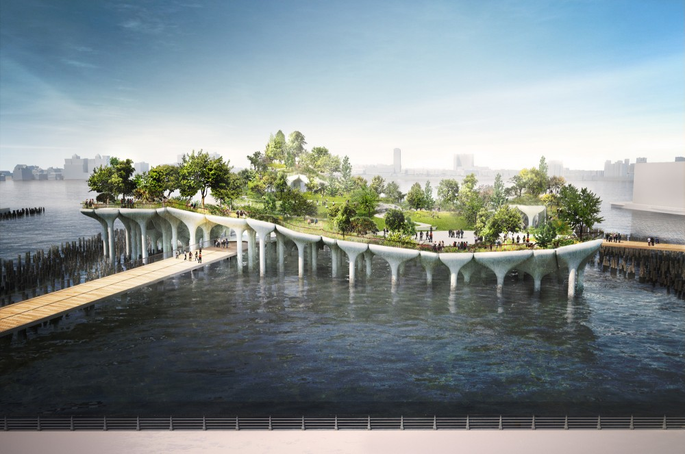 Pier 55 from the esplanade looking west.. Image © Pier55, Inc. and Heatherwick Studio, Renders by Luxigon