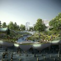 Southern space looking north from Gansevoort Peninsula.. Image © Pier55, Inc. and Heatherwick Studio, Renders by Luxigon