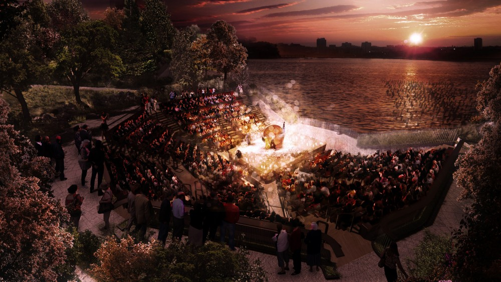 Amphitheater looking southwest at the sunset.. Image © Pier55, Inc. and Heatherwick Studio, Renders by Luxigon