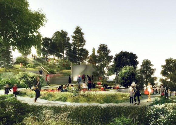 Conceptual view of Pier 55's rolling landscape.. Image © Pier55, Inc. and Heatherwick Studio, Renders by Luxigon