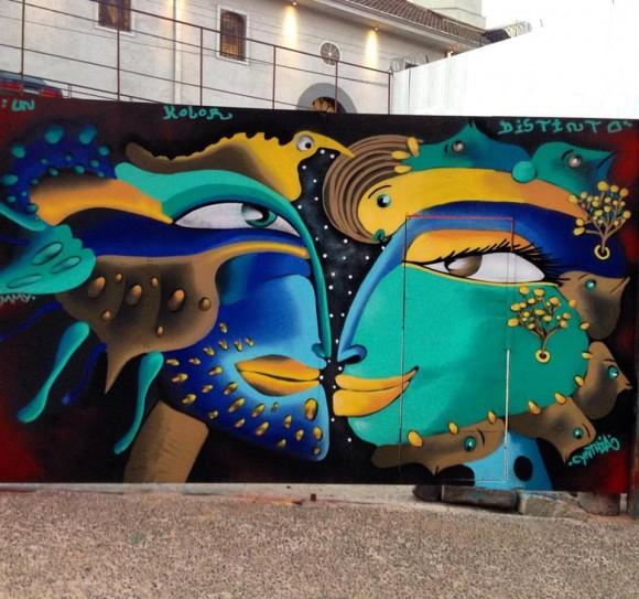 Mural en Barrio Echaurren, Valparaíso. Cortesía de Cines.