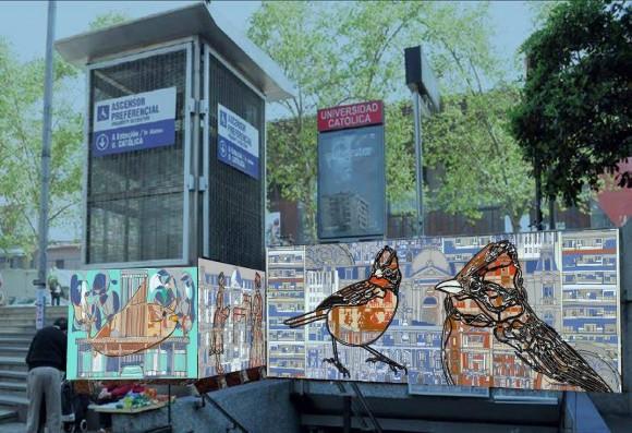 Propuesta ganadora de Valeria Merino para el nuevo mural de la estación Universidad Católica del Metro de Santiago.