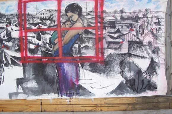 """Lienzo mural para la portada y presención del libro """"Herminda de la Victoria"""" de Víctor Muñoz. Cortesia Valeria Merino"""