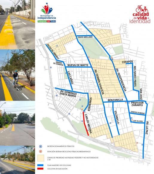 Plan Maestro de Ciclovías de Independencia. © Municipalidad de Independencia
