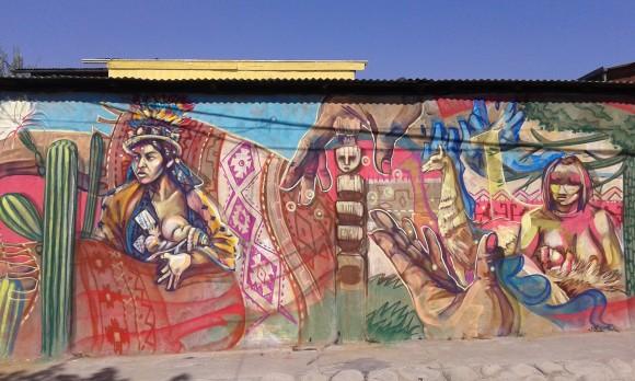 """Mural """"Pueblos Originarios""""."""
