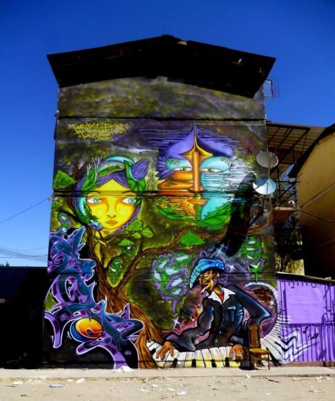 Mural en San Bernardo, con Jekse, Setok, Her, Bash, Pcho y Kina. Cortesía de Cines