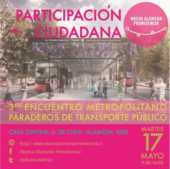 afiche encuentro metropolitano paraderos del transporte publico
