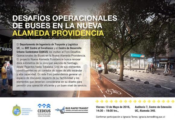 afiche foro buses alameda providencia cedeus mayo 2016
