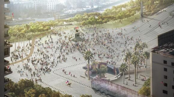 Plaza Italia y Plaza Baquedano. Imagen Cortesía de Nueva Alameda Providencia.