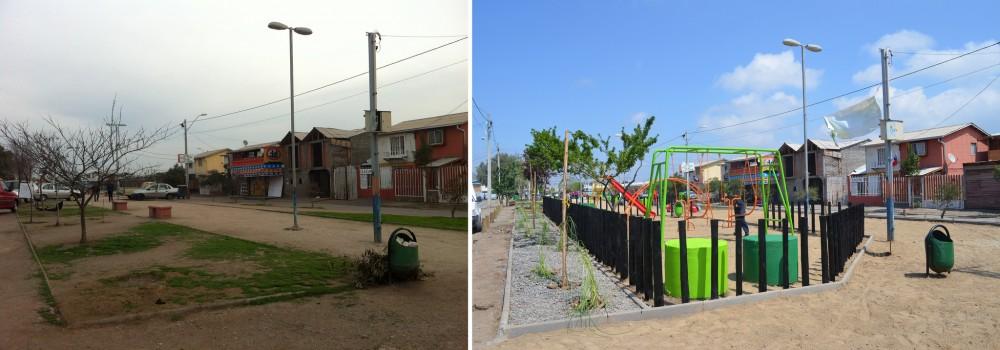 Antes y después de la Plaza San Matías en la comuna de San Bernardo, Santiago.
