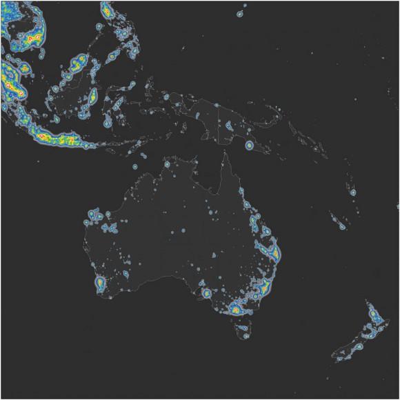 Mapa del brillo en Australia, Indonesia y Nueva Zelanda. © Elaborado por Fabio Falchi et al. Sci Adv 2016;2:e1600377. Publicado en AAAS. CC BY-NC
