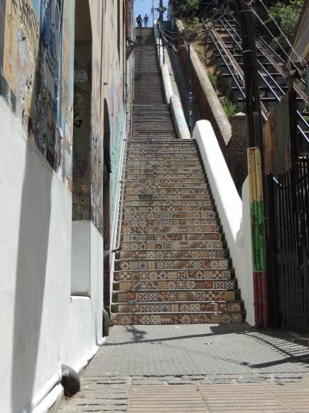 Escalera Cienfuegos en Cerro Cordillera, Valparaíso. Cortesía Escuela de Construcción Duoc UC - Valparaíso