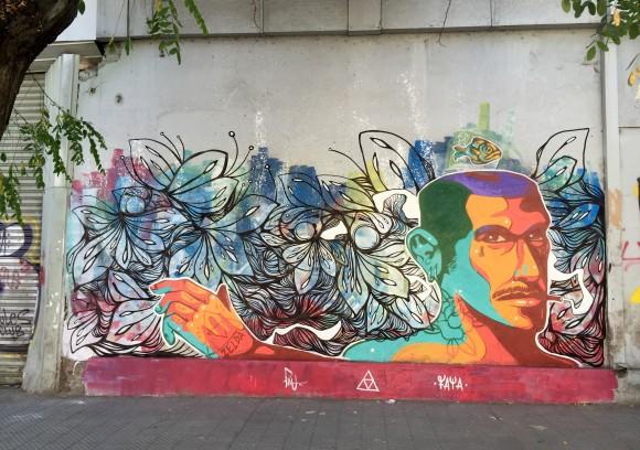 Mural realizado con @theartofpau en Avenida Santa, Santiago centro. Cortesía Faya E.C.