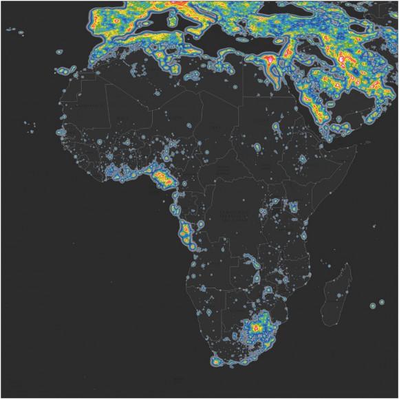 Mapa del brillo en África. © Elaborado por Fabio Falchi et al. Sci Adv 2016;2:e1600377. Publicado en AAAS. CC BY-NC