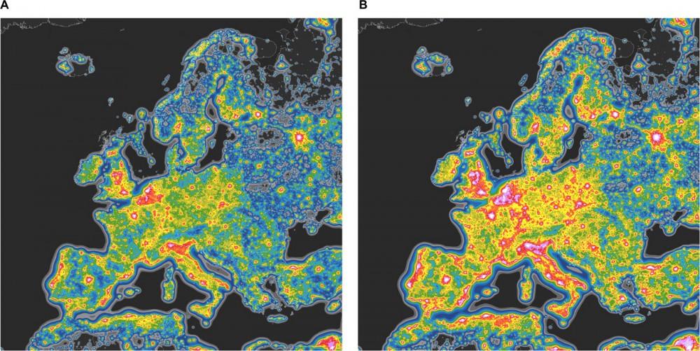 Mapa del brillo en Europa