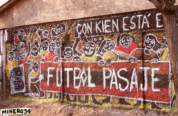 Mural en La Pintana, para la escuela popular de cine 2015. Cortesía de Minero34