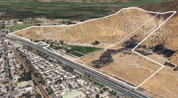 Identificación de 58 hectáreas disponibles de propiedad fiscal. Primera etapa Parque Metropolitano. Cortesía Gobierno Regional Metropolitano de Santiago para Plataforma Urbana