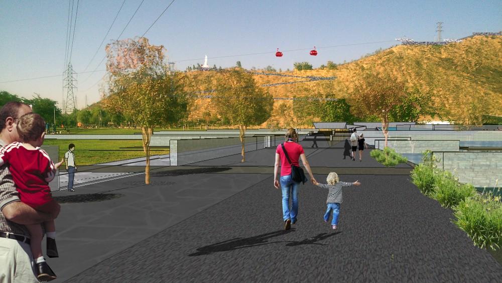 Imagen objetivo de la primera etapa del Parque Metropolitano Cerro Chena, Camino a la Virgen. Cortesía Gobierno Regional Metropolitano de Santiago para Plataforma Urbana